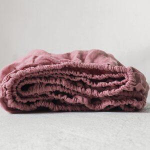 Lniane prześcieradło dla dzieci dusty pink