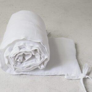 Lniany ochraniacz do łóżeczka pure white