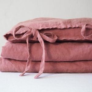 Lniana pościel dziecięca troczki dusty pink