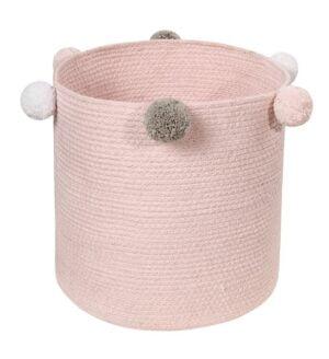 Kosz na zabawki różowy bawełniany bubbly