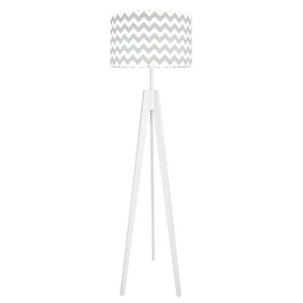 chevronszaryzbialym 600x600 - Lampa podłogowa trójnóg chevron szary