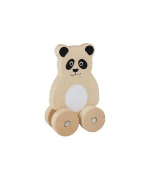 Drewniana panda na kółkach