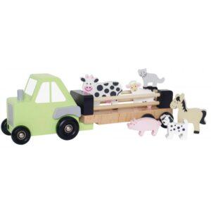 Drewniany traktor ze zwierzętami