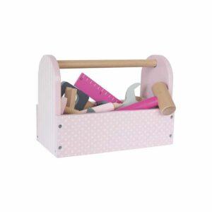 Drewniana skrzynka z narzędziami różowa