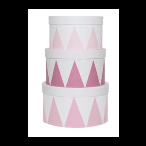 komplet różowych pudełek do pokoju dziecka