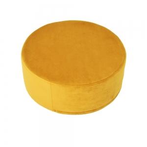 Okrągła pufa żółty welur