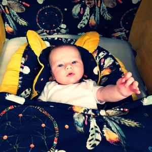 12 1 300x300 - Kocyk niemowlęcy łapacz snów granat