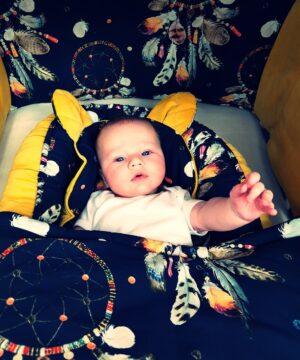 12 1 300x360 - Kocyk niemowlęcy łapacz snów granat