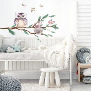Naklejka na ścianę sowa na gałęzi