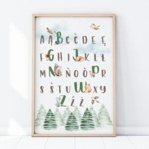 plakat do pokoju dziecka z motywem leśnych zwierząt, plakat alfabet