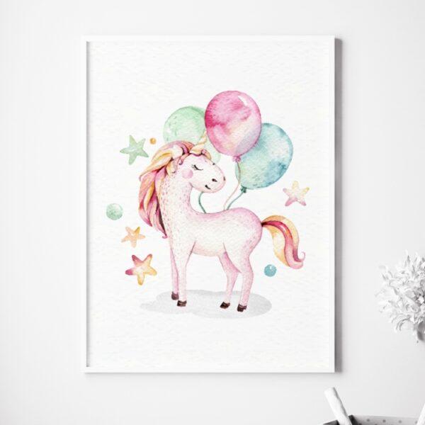 Plakat jednorożec z balonami