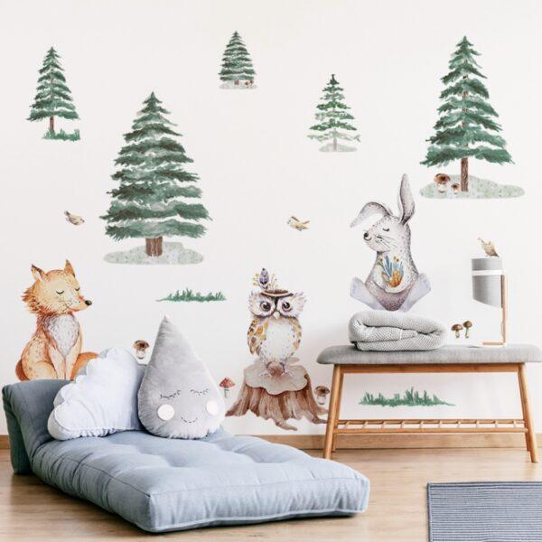 Naklejka na ścianę lis zając sowa