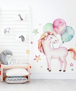 1 max 9 300x360 - Naklejka na ścianę jednorożec z balonikami