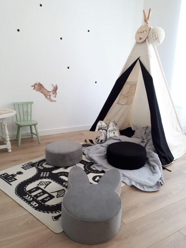 okrągła pufa szara do pokoju dziecka