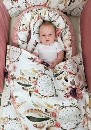 20190118 103531 1 300x431 - Kocyk niemowlęcy łapacz snów róż