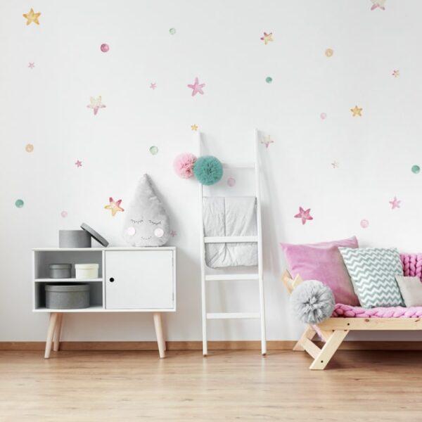 2 max 9 600x600 - Naklejki na ścianę pastelowe gwiazdki i groszki DK271