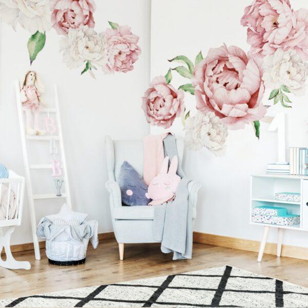 Naklejki na ścianę różowe piwonie