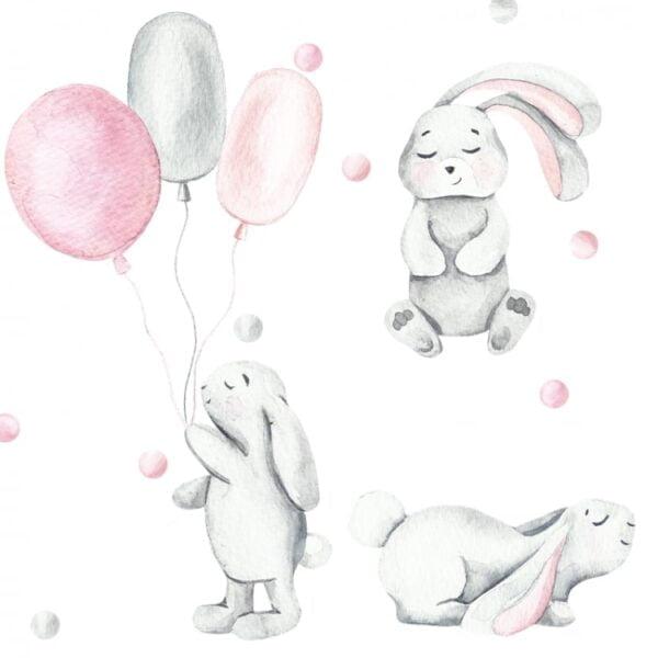 Naklejki na ścianę pastelowe króliczki