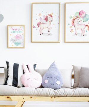 3 max 23 300x360 - Plakat na ścianę jednorożec z balonami P043