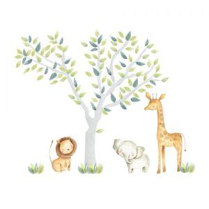 Naklejka na ścianę drzewo i zwierzęta