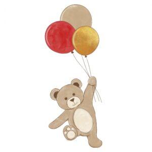 Naklejka na ścianę miś z balonikami