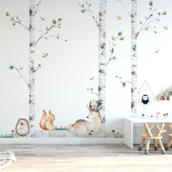 Naklejki na ścianę jeleń jeż wiewiórka