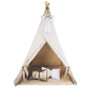 Namiot tipi tepee do pokoju dziecka beżowo złoty