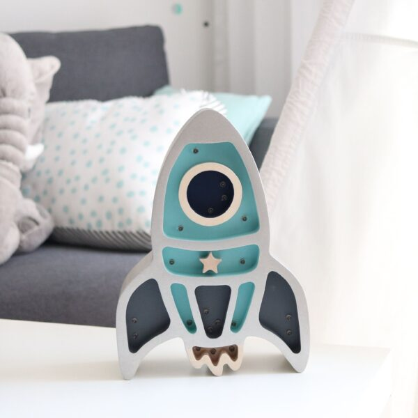Lampka dekoracyjna niebieska rakieta