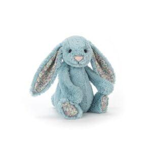 maskotka przytulanka dla dzieci króliczek niebieski z kolorowymi uszami