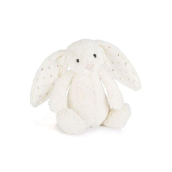 maskotka przytulanka dla dzieci króliczek biały uszkami w gwiazdy