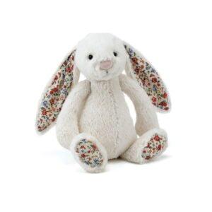 maskotka przytulanka dla dzieci króliczek kremowy z kolorowymi uszami