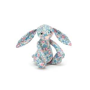 maskotka dla dzieci mały króliczek w niebieskie kwiaty jellycat