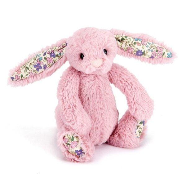 maskotka dla dzieci mały króliczek różowy jellycat z kolorowymi uszami