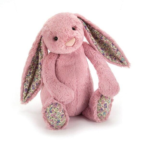 maskotka przytulanka dla dzieci króliczek różowy z kolorwymi uszami jellycat