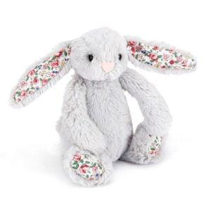 maskotka dla dzieci mały króliczek szary jellycat z kolorowymi uszami