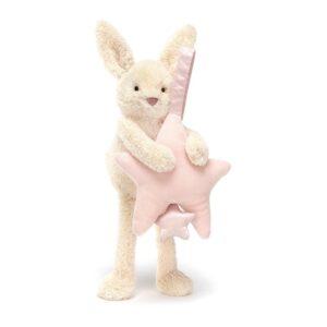 Królik z pozytywką różową gwiazdką 28 cm dla niemowląt