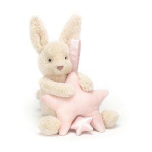 Królik z pozytywką różową gwiazdką 28 cm