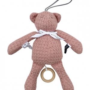 miękka zabawka -pozytywka ciemnoróżowy miś vintage dla niemowląt