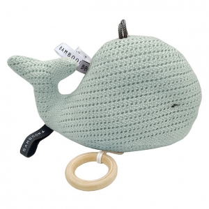zabawka z pozytywka miętowy wieloryb dla niemowąt. prezent vintage dla dziecka