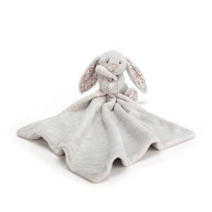 Szmatka przytulanka z królikiem szarym dla niemowląt 34 cm
