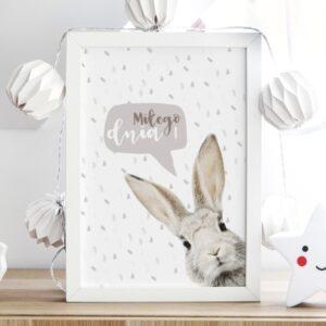 plakat do pokoju dziecka królicze miłego dnia