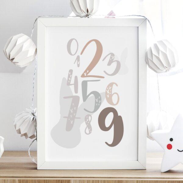 plakat na ścianę cyfry z królikiem