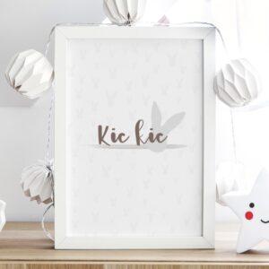 plakat do pokoju dziecka z królikiem, kic kic