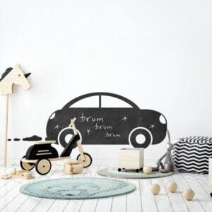 naklejka tablicowa do pokoju dziecka w kształcie samochodu, autka