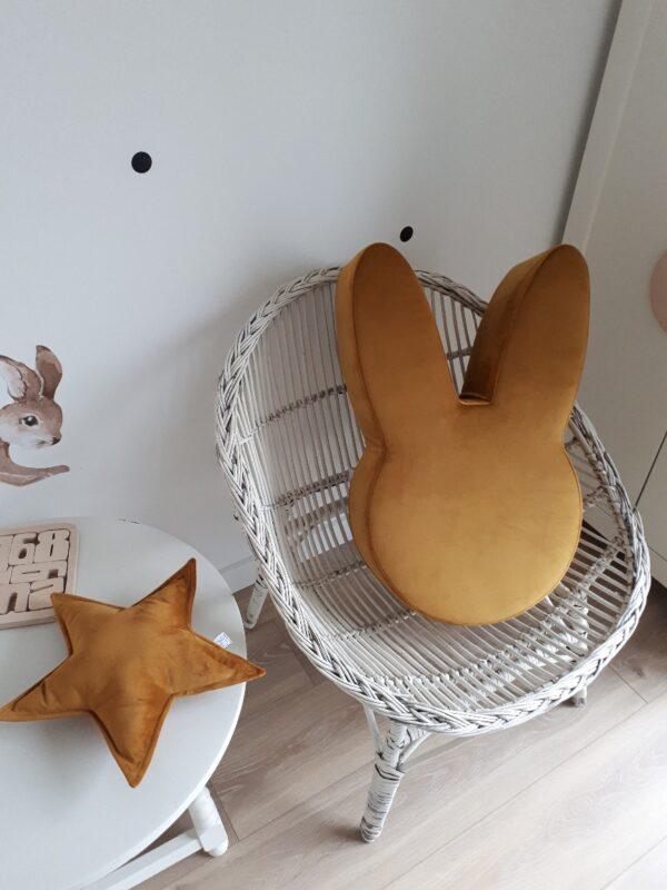 zestaw pufa królik żółty musztardowy z poduszką gwiazdką welur
