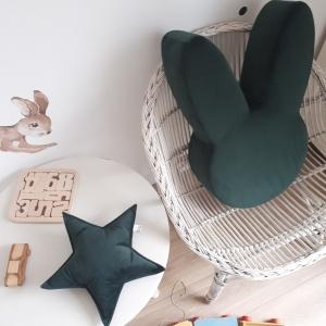 zestaw pufa królik butelkowa zieleń z poduszką gwiazdką welur