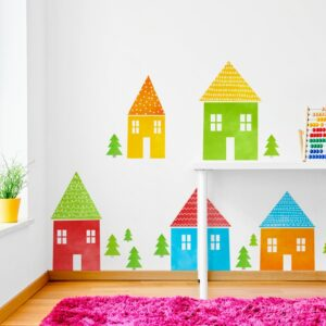 naklejki na ścianę kolorowe domki do pokoju dzieci