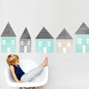 naklejki miętowe domki do pokoju dziecka