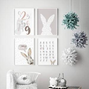 plakat na ścianę królik alfabet