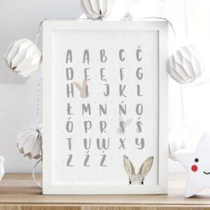 Plakat na ścianę króliczy alfabet P127